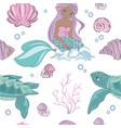 sea wave mermaid princess seamless pattern vector image
