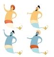 Set of cartoon genies vector image vector image