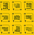 Set of motivational quotes about past goals vector image vector image