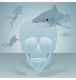 Shark and divers vector image vector image