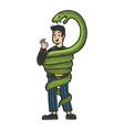 snake eat optimistic man sketch vector image vector image