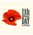 The poppy flower Remembrance Day vector image vector image