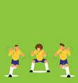 three brazilian soccer players dancing celebration vector image