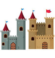 two castle towers with flags vector image