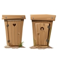 Two rural toilets on white background vector image vector image