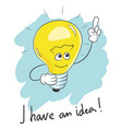 typography slogan i have an idea light bulb vector image