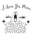 with joyful sheep who says - i love vector image vector image