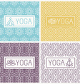 yoga icons and line badges vector image vector image