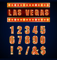show lamps red alphabets and numbers vector image