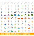 100 entertainment icons set cartoon style vector image vector image