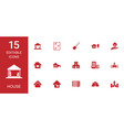 15 house icons vector image vector image