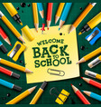 back to school design with pencils and sticky vector image vector image