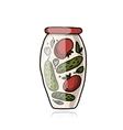 Bank of pickled vegetables sketch for your design vector image