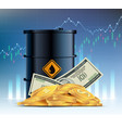 barrel crude oil dollar currency and gold coins vector image