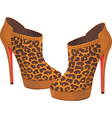 beautiful pair fashion leopard shoes vector image