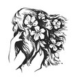 beautiful woman with flowers and long hairs vector image vector image