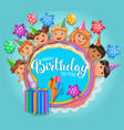 birthday fun card with cute kids vector image vector image