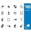 black pills icon set vector image vector image