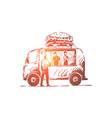 burger car fast food shop truck concept vector image vector image