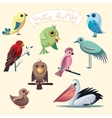 Cartoon collection with funny little birds vector image vector image