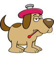 Cartoon of a sick dog with a thermome vector image vector image