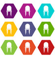 chair icon set color hexahedron vector image vector image