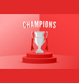 champion trophy on stage with red background vector image vector image