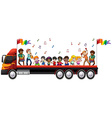 Children singing and dancing on the truck vector image vector image