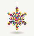 Christmas holidays triangle snowflake vector image