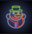 christmas snowman neon sign vector image vector image