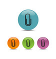 clip icon on colored buttons vector image vector image