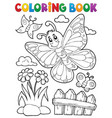 coloring book happy butterfly topic 5 vector image vector image