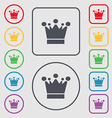 Crown icon sign Symbols on the Round and square vector image vector image
