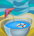 cup on the beach vector image