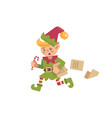 cute busy christmas elf running with papers and vector image