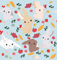 cute cartoon rabbit bunny seamless pattern vector image vector image