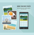 different photo with smartphone vector image vector image