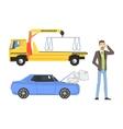 Evacuation Truck Broken Car And Man Calling vector image vector image