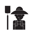 farmer with hayfork black concept icon vector image