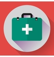 First aid case flat icon with shadow vector image