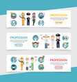 flat professions horizontal banners vector image vector image