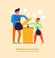 garbage cleaning father son vector image vector image