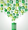 Green splash recycle bin vector image vector image