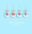 happy 2021 new year with numbers in snow globes vector image