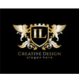 il letter initial with lion royal logo template vector image vector image