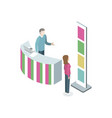 information stand with manager isometric element vector image
