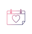 line calendar with heart to romantic special day vector image