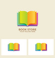 logo book shop template learning education book vector image vector image