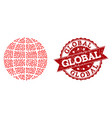love heart mosaic of globe icon and rubber vector image