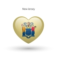 Love New Jersey state symbol Heart flag icon vector image vector image